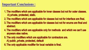 Access Modifier coclusion
